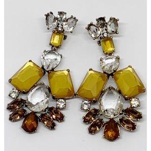 J. Crew Gold Brown Crystal Drop Earrings